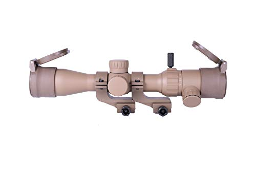 Monstrum 3-9x32 Rifle Scope with Offset Cantilever Scope Rings and Flip Up Lens Covers | Flat Dark Earth