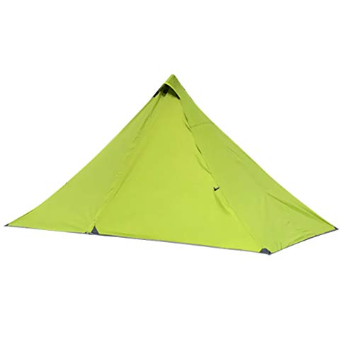 Perfeclan 1 Person Pyramid Tent Backpacking Lightweight Single Waterproof with Double Layer for Mountaineering Hiking Camping - Green
