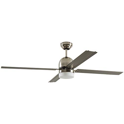 Amazon Brand – Rivet Modern Straight Blade Remote Control Flush Mount Ceiling Fan with Integrated LED Light - 53 x 53 x 16 Inches, Brushed Nickel