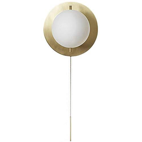 FEIFEImop Lámparas de pared H65 latón E27 lámpara de pared, fondo de la sala de TV Corredor pared del vidrio de leche blanca pared de la luz de noche Dormitorio luz de lectura, interruptor de tirón al