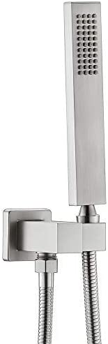 Enga Solid Brass High Pressure Hand Held Shower Wand Square Head with Adjustable Supply Elbow product image