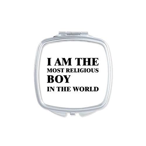 DIYthinker Je suis Le Religieux Boy Miroir carré Maquillage Compact Portable Cute Cadeau Miroirs de Poche à la Main Multicolor