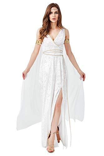 Mujer Halloween Vestido de Diosa Griega Disfraz de Atenea Cuello V Sin Mangas Romano Toga Olimpica Conjunto Completo, S