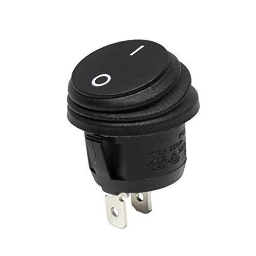 WITTKOWARE wasserdichter Wippenschalter, IP65, Einbau-Ø 20mm, 1-polig, EIN/AUS, 10A/250V, schwarz