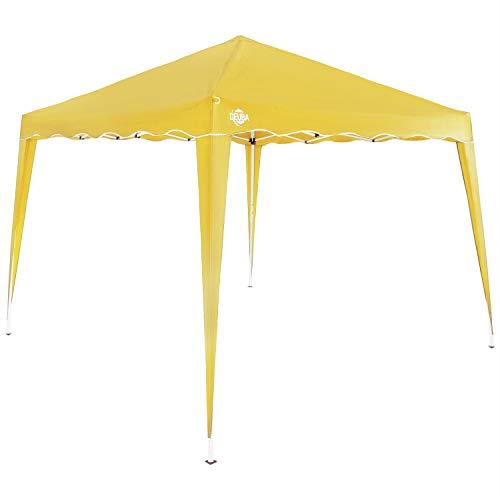 Deuba Gazebo da Giardino 3x3m Capri Impermeabile Pop up Richiudibile A Fisarmonica Protezione UV50 Feste Spiaggia Campeggio Giallo