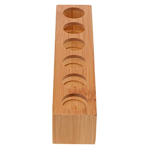 DOITOOL Soporte de exhibición de aceite esencial 6- rejilla de madera aceites esenciales esmalte de uñas estante de almacenamiento aromaterapia organizador fragancia rodillo titular