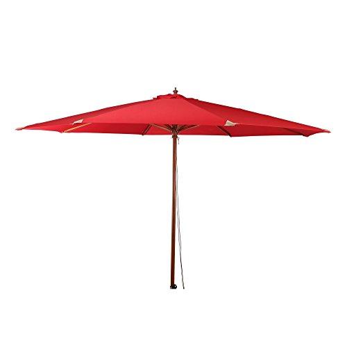 Siena Garden Mittelstockschirm Teaklook, Ø 350cm, Gestell: Hartholz, lackiert in Teak-Optik, Bezug: Polyester, 240g/m² in rot, Lichtschutzfaktor: UPF 50+
