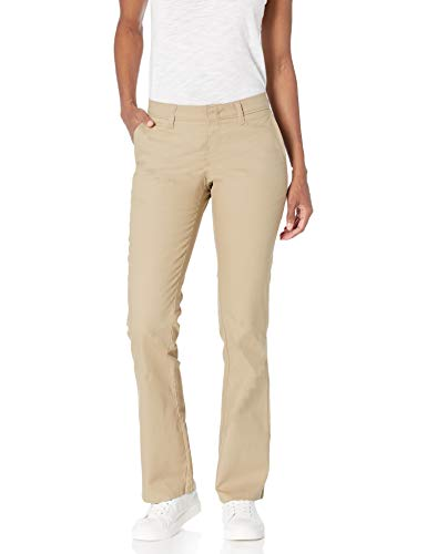 Dickies Women's Flat Front Stretch Twill Pant Slim Fit Bootcut, Desert Sand, 6