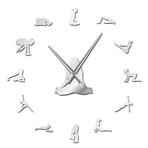 hufeng Reloj de Pared Yoga Poses DIY Reloj de Pared Encuentra tu Equilibrio Meditación Arte de la Pared Decoración del hogar Reloj de Pared Moderno Reloj Mindfulness Regalo Plata