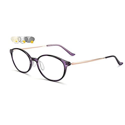 LGQ Gafas de Lectura fotocromáticas HD, multifocales progresivas, luz Anti-Azul, Gafas de computadora para Ancianos ultraligeras de Cristal de Moda, dioptrías +1,00 a +3,00,Púrpura,+3.00