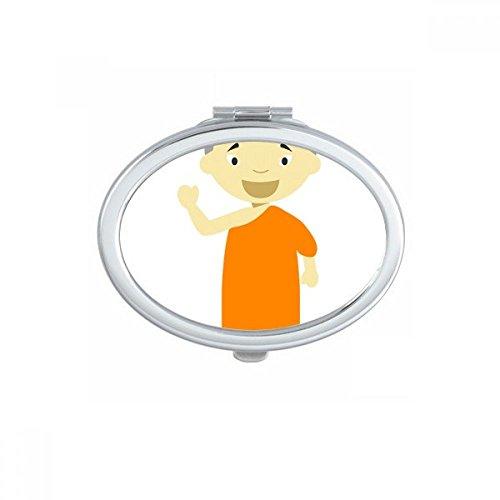 DIYthinker Orange Gown Monk Nepal Cartoon Oval Compact Make-up Taschenspiegel Tragbare Nette Kleine Hand Spiegel Geschenk