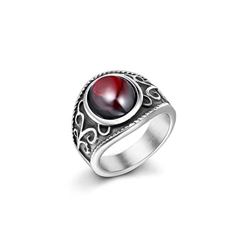 AOLIGEl Anillo de rubí de Granada mágica Real, Acero de Titanio, joyería para Hombres y Mujeres