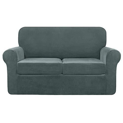 Funda de sofá de terciopelo elástico de 2 plazas, funda de sofá separada, suave funda de felpa gris, 2 plazas, terciopelo 1 pieza