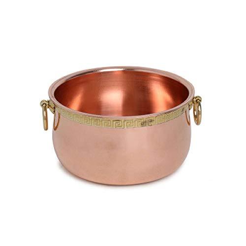 Olla de ombligo grande de cobre grueso Olla de doble fondo de cobre puro
