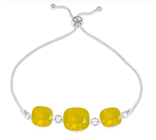 Beforya Paris – Pulsera ajustable * Triple Square * * * * Yellow Opal* – Pulsera de plata 925 con elementos originales Swarovski – maravillosa pulsera madre mujer regalo con caja de regalo