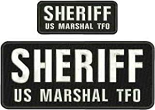 """/""""Sheriff/"""" embroidery patch  4x10 and 2x5 inches hook grey"""
