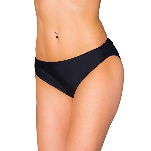 Aquarti Damen Bikini Hose mit mittelhohem Bund, Farbe: Schwarz, Größe: 36