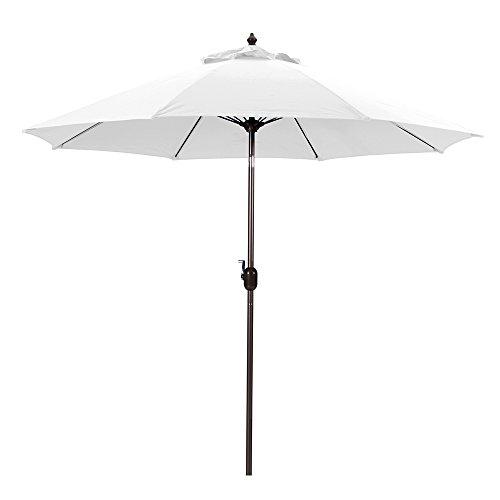 Galtech 9-Foot (Model 636) Deluxe Auto-Tilt Umbrella with Mocha Bronze Frame and Suncrylic Fabric: White