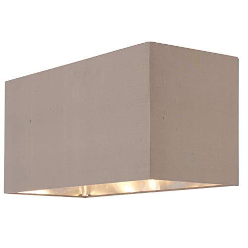 Großer 460 mm breiter rechteckiger Lampenschirm - grau taupe & nickel Innenfutter - Modern Clean Boutique längliches Kasten-Design - Tisch- / Stehlampen-Abdeckung | Deckenleuchte Hängeleuchten