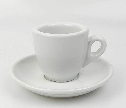 Moka Consorten Extra dickwandige Espressotassen | Tassenwand 8 mm | Füllmenge (bis zur Oberkante): 56 ml | weiß | 1 Tasse & 1 Untertasse