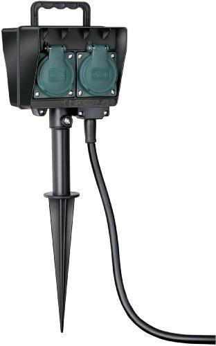 Brennenstuhl Garten-Steckdose / Außensteckdose 4-fach mit Erdspieß (witterungsbeständiger Kunststoff, Steckdose für außen mit wasserfestem Gehäuse, 10m Kabel) schwarz