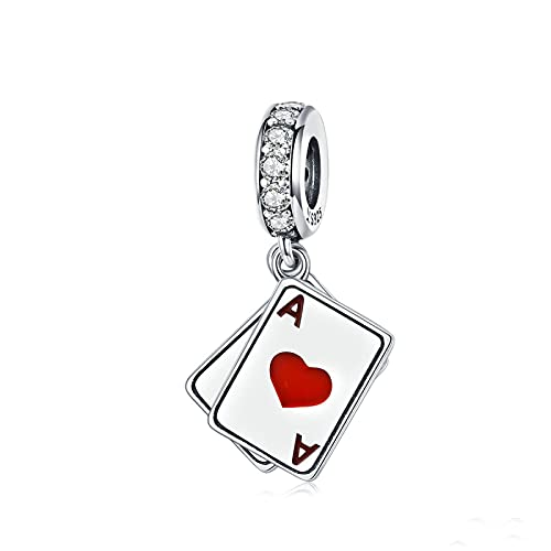 Regalo De Mujer Plata De Ley 925 Ace In Poker Love Colgante Abalorios Aptos para Mujeres Pulseras Brazaletes Fabricación De Joyas DIY
