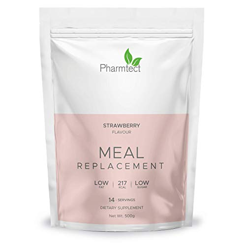 Pharmtect Delicious Strawberry Meal Replacement Diet Shake - Weight Support & Increase Metabolism - Over 20 Essential Vitamins, Low Calorie & Low Sugar - for Vegetarians UK Made…