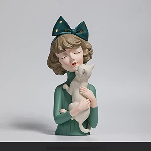 SHAUNGXIANG Escultura de niña Bowknot Figuras de Resina Busto Estatuas de Mujer TV y gabinete de Vino Decoraciones Figuras Color Turquesa-Verde-Gato