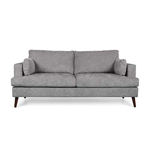 Christopher Knight Home Randolph Contemporary 3 Seater Fabric Sofa, Light Gray + Espresso
