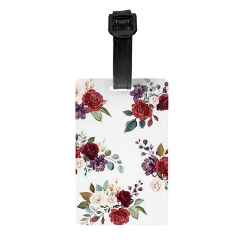 Juego de 2 etiquetas para equipaje, juego de 2 tarjetas de identificación de equipaje con rama floral, flor roja, burdeos, con correa de muñeca desmontable y tarjeta de dirección para maleta de viaje