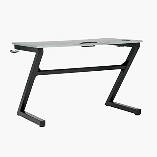 Wood Computer Desk with Z-Shape Metal Legs - Rectangular Desk with Cable Management - Silver