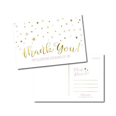 25 Girl Baby Shower Thank You Note Card Bulk Set, Blank Pink and Gold Cute Modern Sprinkle Postcards, No Envelope Needed Stationery Appreciation For Party Gifts, Personalize Printable Cardstock Paper by Hadley Designs