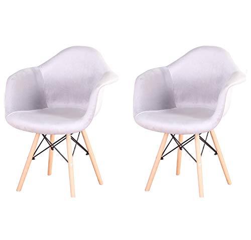 Juego de 2 sillas de comedor de terciopelo estilo escandinavo. Color: gris claro.