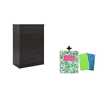 Mainstays Drawer Dresser, 4-Drawer Dresser, Espresso with Freebie 2020 Weekly/Monthly Hardcover Planner. + Cleaning Cloth