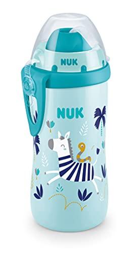 NUK Flexi Cup Trinklernflasche mit weichem Trinkhalm | Chamäleon Effekt | 300ml | 12+ Monate | auslaufsicher | BPA frei | Zebra (blau)
