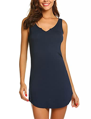 Skione Damen Ärmellos Nachthemd Kurz Sexy Nachtwäsche V-Ausschnitt Nachtkleid Negligee Sleepwear Gemütlich Schwarz Grau Blau, Marineblau, M/EU 38-40