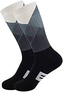 YBAA New Men Women Cycling Sock Breathable Outdoor Basketball Socks Protect Feet Wicking Bike Running Football Sport Socks (Color : White)