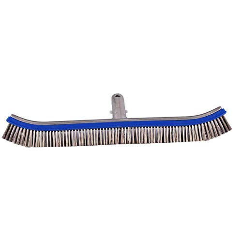 ROSEBEAR Cepillo de Acero Inoxidable con Mango de Aluminio Cepillo de Limpieza de Piscinas para Piscinas de Hormigón Y Gunita de 18 Pulgadas