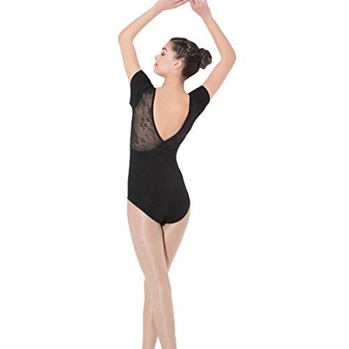 Limiles Ballett-Tanztrikot für Damen, kurzärmelig, Spitze, V-Rücken