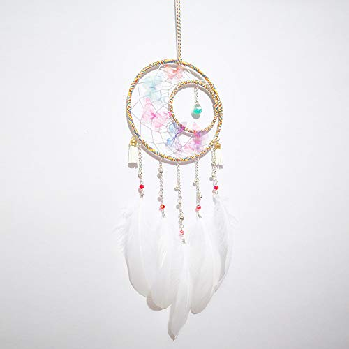 Shop-PEJ Nice Dream Dream Catcher, Handmade Dream Catcher with Feathers Hanging Decorations for Kids Room, Ornament Craft Gift for Wall Hanging Decoration (Color : White)