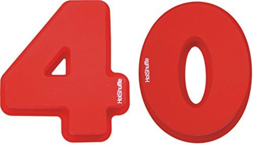 HotShuffle Grand Nombre de Silicone 40 Moule à gâteau Moule 40e Anniversaire de Mariage de Rubis 4 0