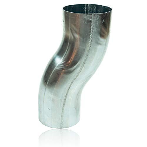 Zink Sockelknie 100 mm mit 6 cm Ausladung, konischer Titanzink Etagenbogen mit Einsteckfase und stumpfgeschweißt DN 100