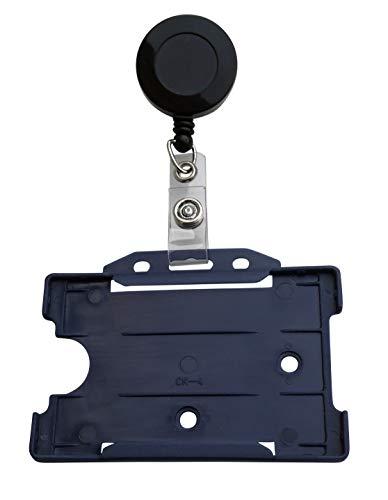 5 x ID-kortshållare med korthållare i hårdplast i liggande format (blå)