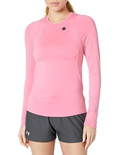 Under Armour Damen Rush Long Sleeve Workout Shirt Langärmelig, Lippenstift (691)/Schwarz, X-Large