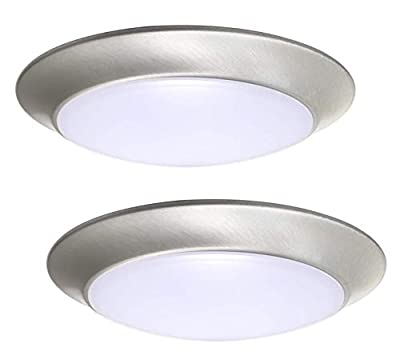 Gruenlich LED Flush Mount Ceiling Lighting Fixture, 9 Inch Dimmable 15.5W 1050 Lumen, Aluminum Housing Plus PC Cover, ETL and Damp Location Rated, 2-Pack (Nickel Finish-5000K)
