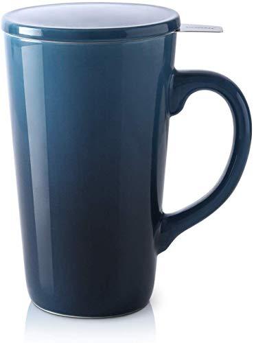 DOWAN Teetasse mit Deckel und Sieb, Teetasse Groß 500ml Porzellan, Große Tasse Keramik für Tee, Grüntee oder Schwarztee, Blau