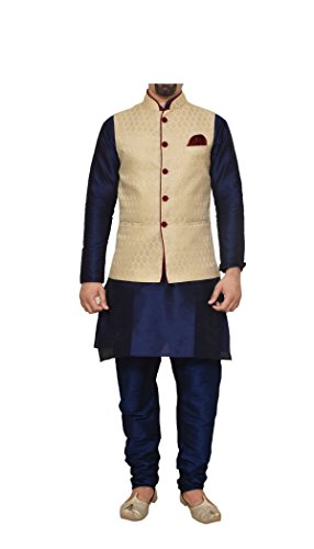 Mag Men's Nevy Blue Matching silk Kurta Churidhar With Gold Waistcoat (RG-10795-42)