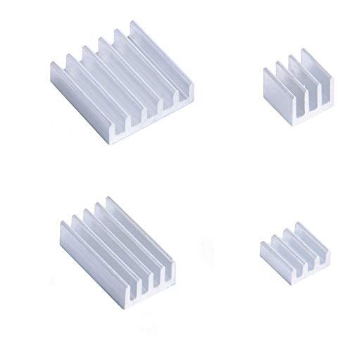 weichuang Elektronisches Zubehör 52Pi 4-teiliges Set Aluminium-Kühlkörper Silber für RPi 4B Elektronikteile Elektronikzubehör