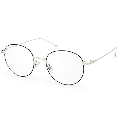 Livhò Occhiali per computer pc luce blu, Filtro UV Abbagliamento Occhiali da gioco rotondi retrò per donna Uomo [Anti affaticamento della vista e riduzione del mal di testa] (Argento nero)