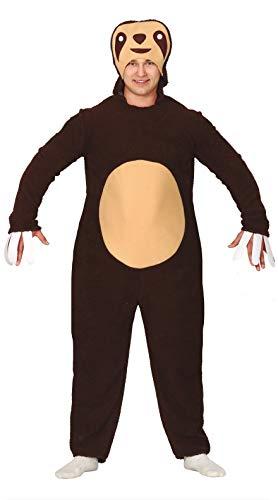Guirca Faultier Jumpsuit Kostüm für Herren Größe M-L - Fasching Karneval, Größe:M
